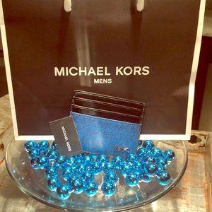 Michael Kors Mens 🖤💙 Tall Card Case Wallet NEW